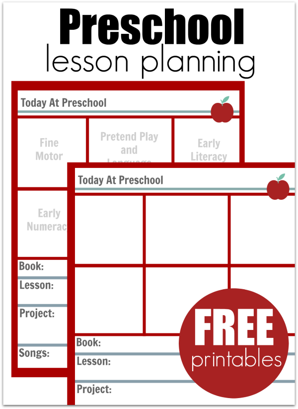 preschool lesson planning template - free printables