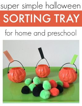 Simple Halloween Sorting Tray for Preschool