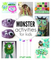 Monster themed activities for kids. Perfect monster activities for Halloween.