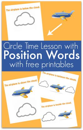 Circle time lesson about position words for preschool by no time for flash cards