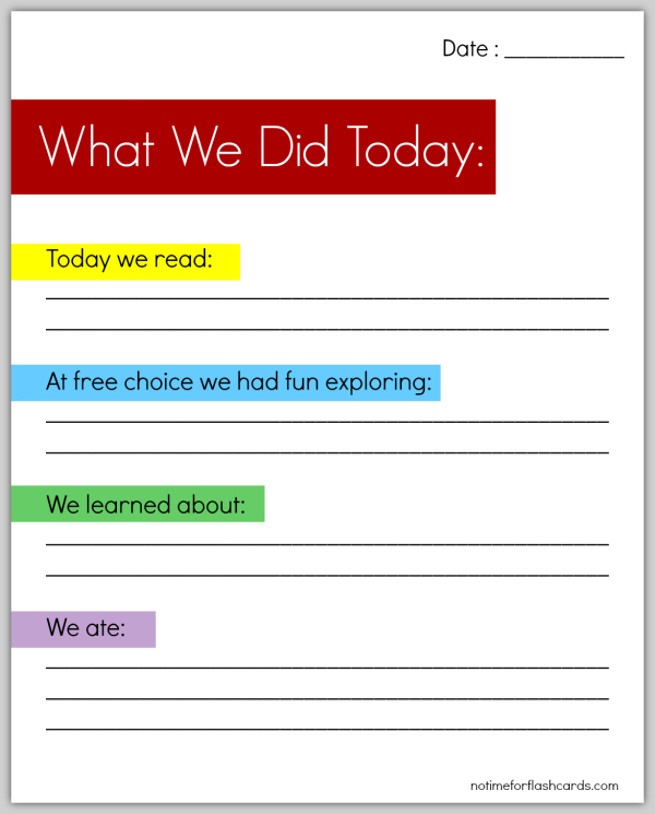 Free Printable what we did today at preschool sheet