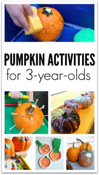 Pumpkin crafts and activities for three year olds. Great ideas for fall preschool or Halloween parties.