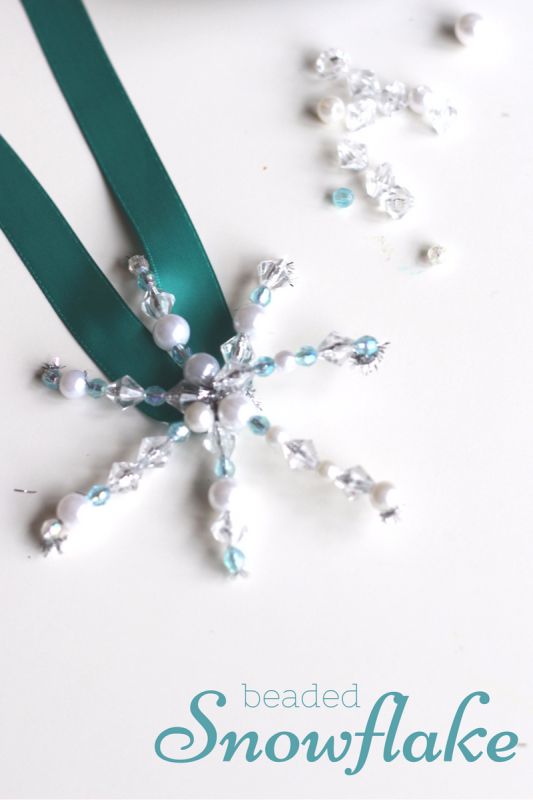 Snowflake ornament craft for kids - beading is fantastic for fine motor