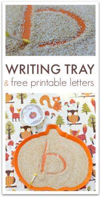 Sensory writing tray for preschool and kindergarten.