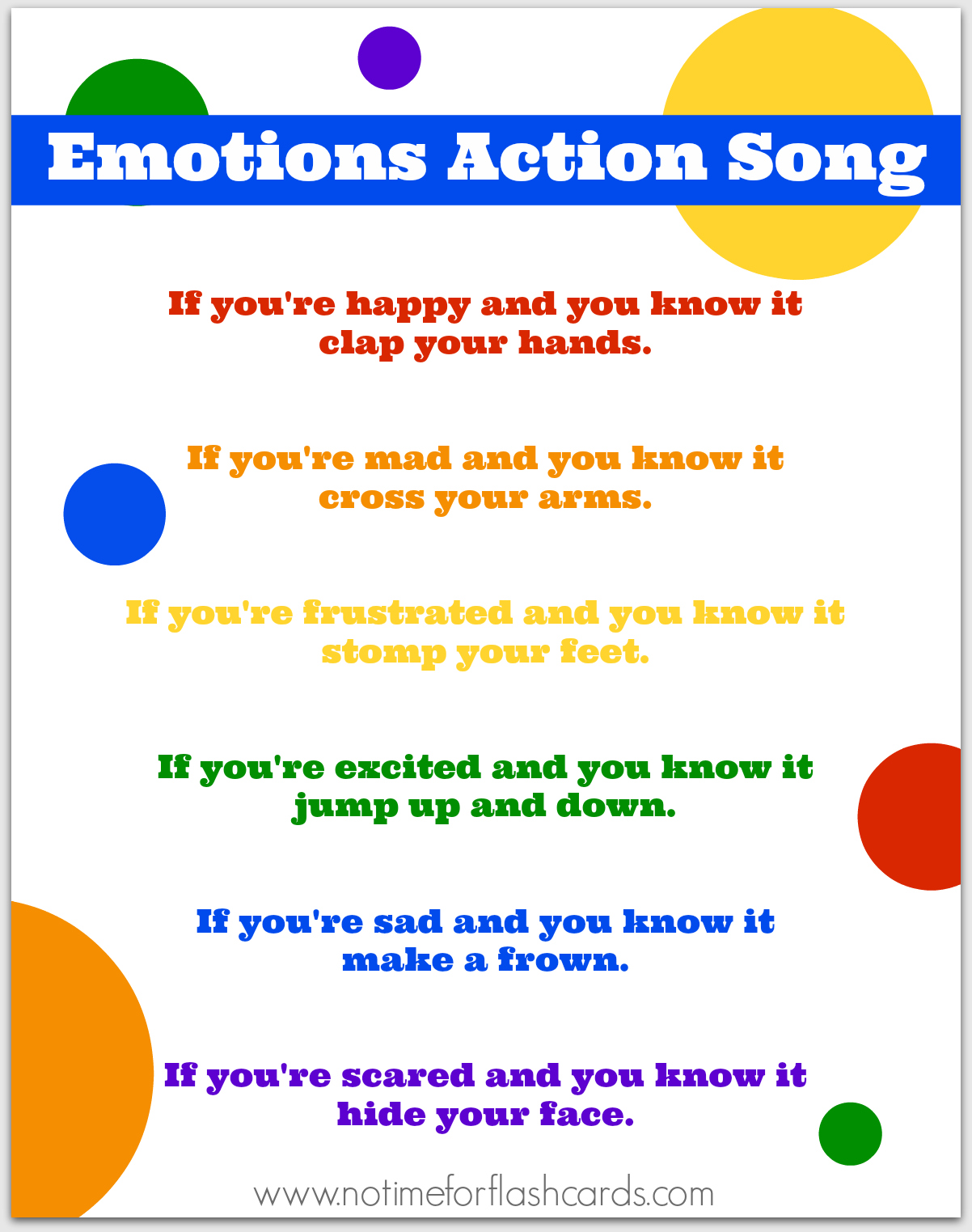 worksheet Time Flash Cards emotions action song printable no time for flash cards cards