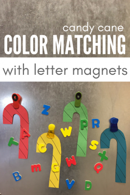 Candy Cane Color Matching with Letter Magnets