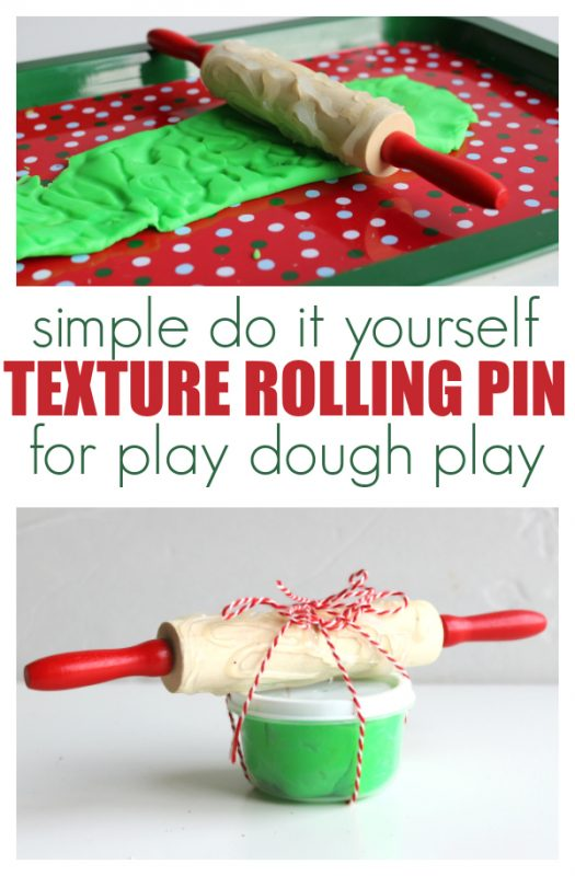 DIY texture rolling pin for play dough play