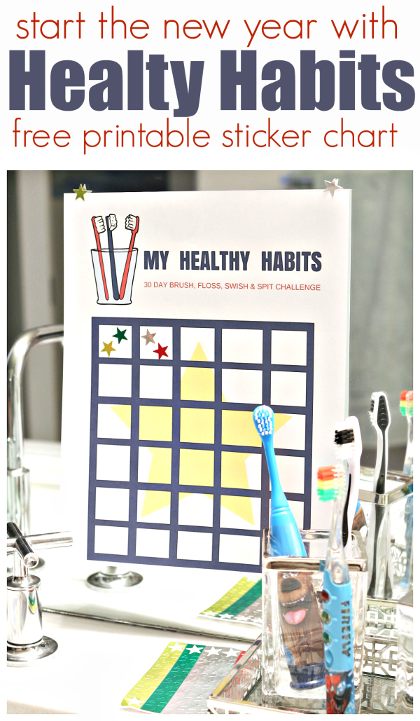 Healthy Habits free printable sticker chart for kids #ad