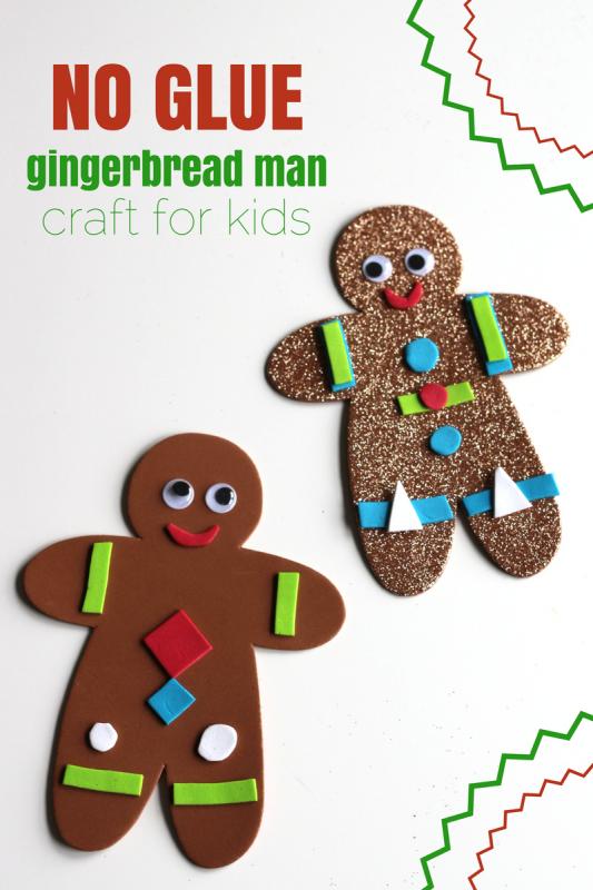No glue gingerbread man craft for preschool