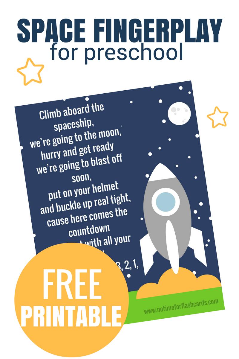 Space Fingerplay for preschool
