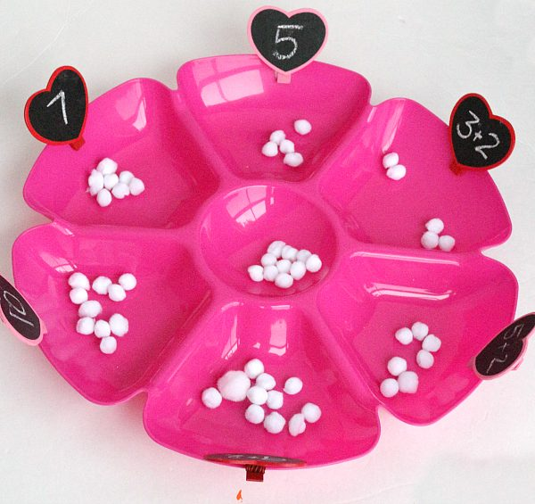 Valentine's day math tray for math centers