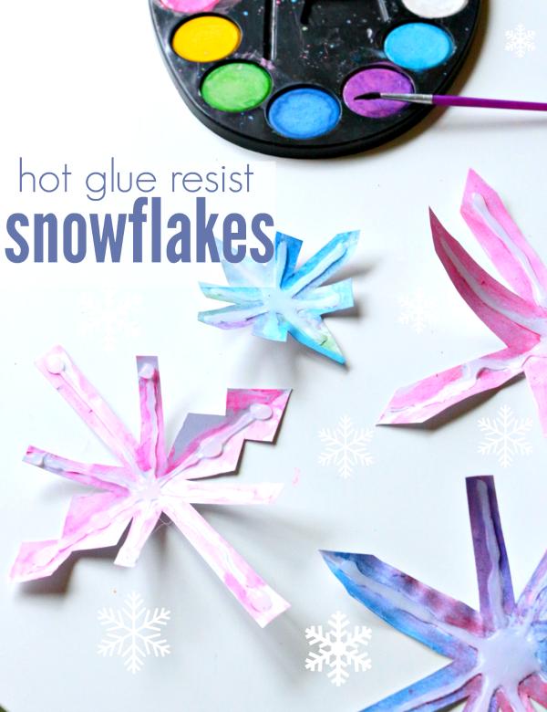 snowflake craft using hot glue gun for resist