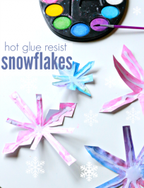 hot glue resist snowflake craft for kids