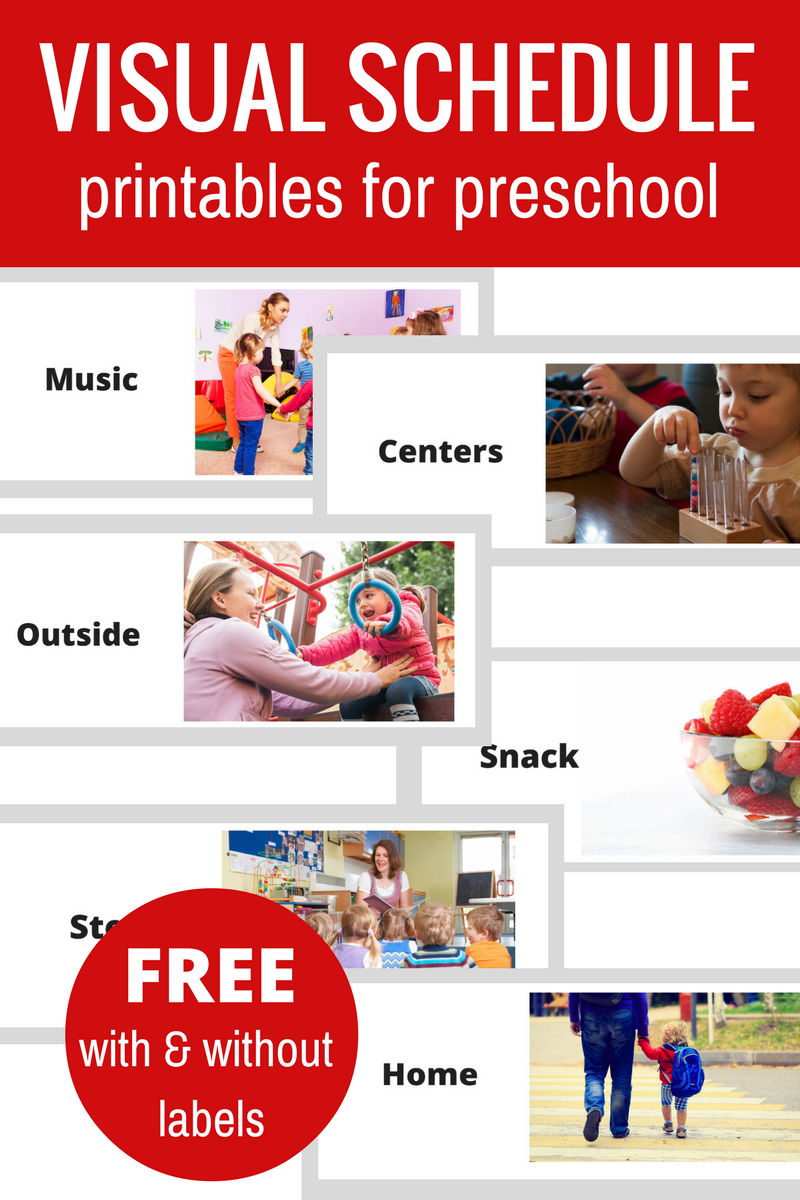 Printable visual schedule for preschool