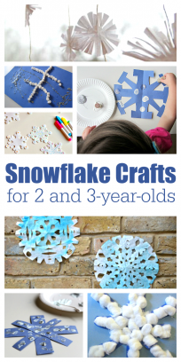 Snowflake crafts for 2 and 3 year olds. Great Winter crafts for kids.