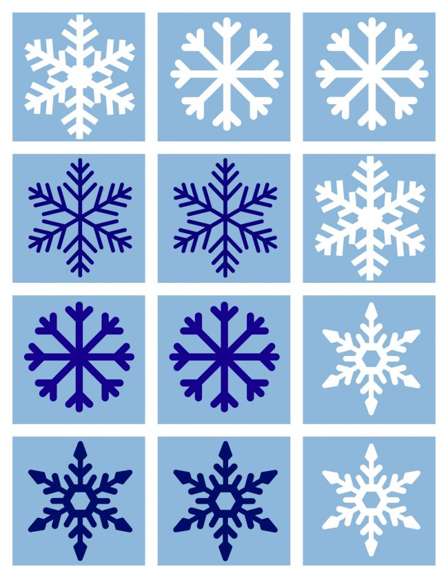 photo relating to Snowflake Printable identify Totally free Printable Sport Match for Winter season - No Season For Flash Playing cards