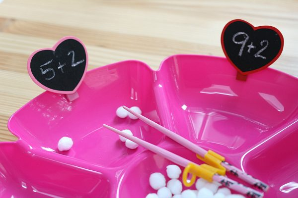 valentine's day math tray for valentine's day party