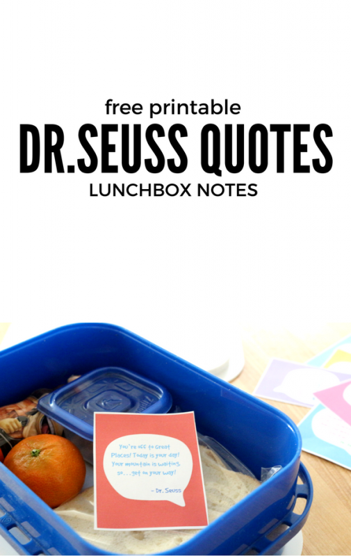 DR.SEUSS QUOTES LUNCH BOX NOTES