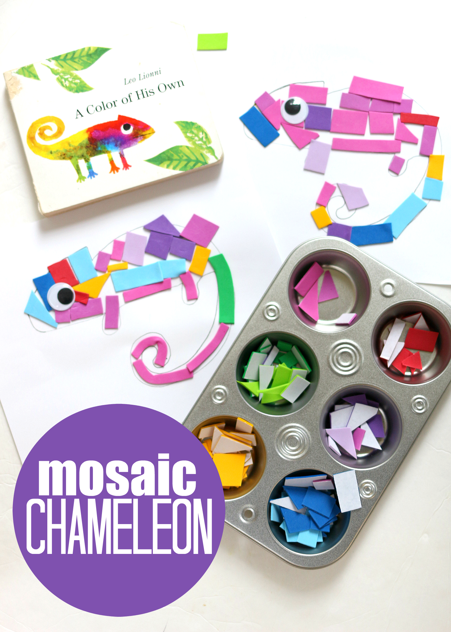 a color of his own inspired mosaic craft for preschool no time