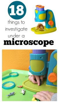 Preschool science using a microscope at preschool