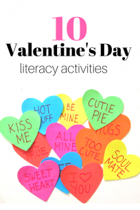 '10 fun Valentine's Day literacy activities for preschool and kindergarten' from the web at 'https://www.notimeforflashcards.com/wp-content/uploads/2017/02/valentines-day-literacy-activities-204x306.png'