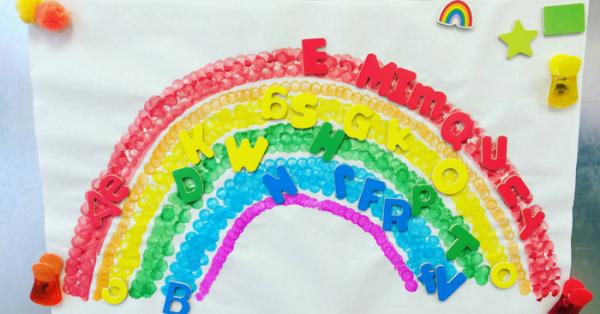 Rainbow color matching at preschool
