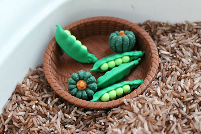 grouping by color veggie sensory bin for preschool