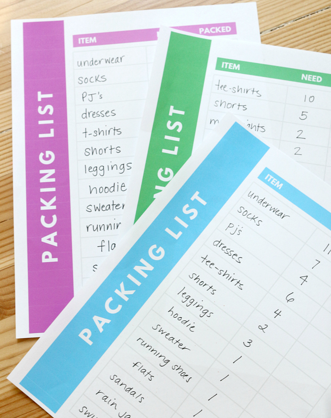 packing lists free printable for kid