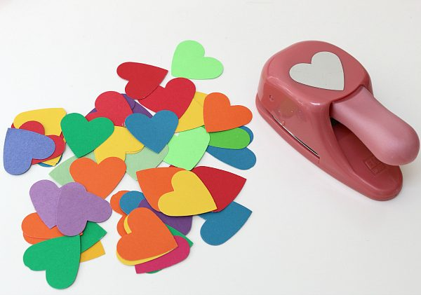 paper heart paper plate rainbows