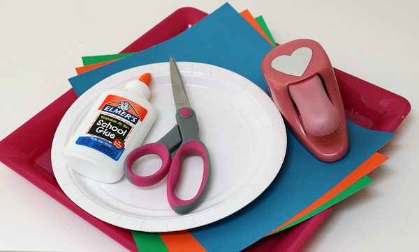 paper heart rainbow craft