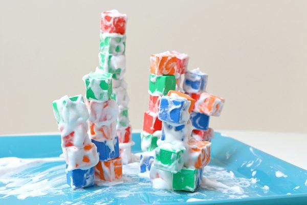 preschool STEM building bloks with shaving cream