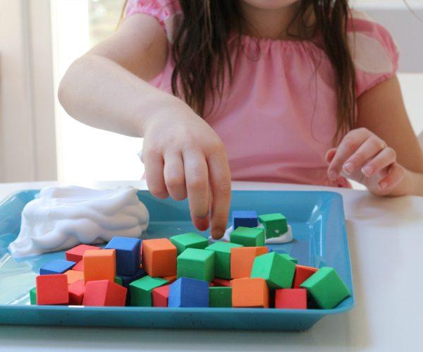 preschool stem blocks with shaving cream activity