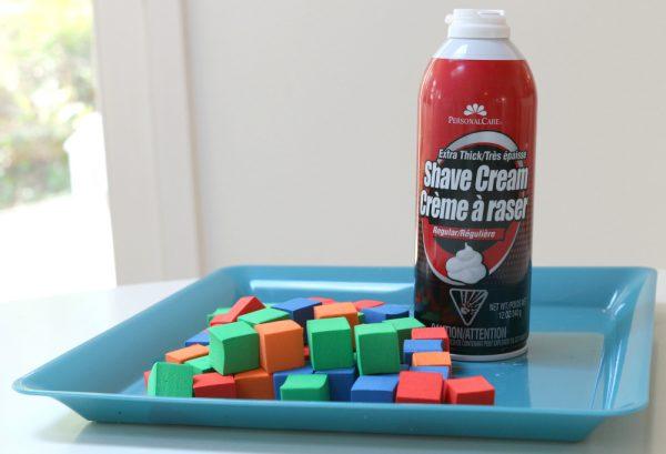 shaving cream building blocks preschool stem