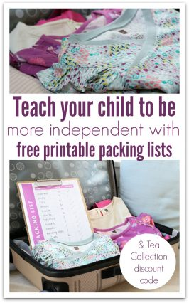 Teach Independence with Free Printable Packing Lists for Kids and Tea Collection Discount Code
