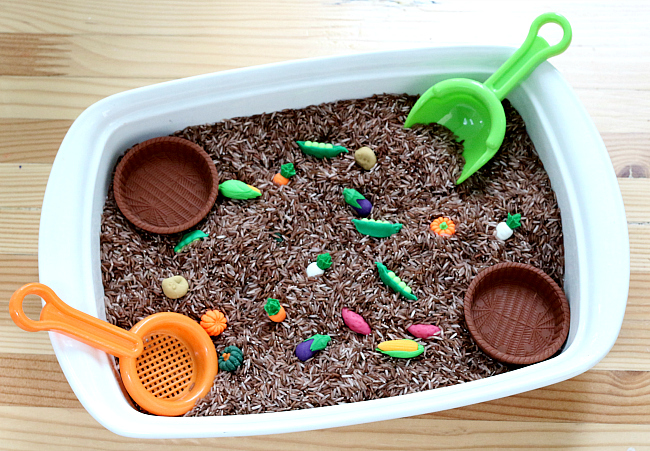 vegetable garden sensory bin for preschool