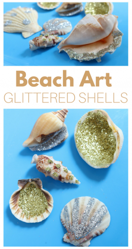 Beach Art Project – Glittered Shells