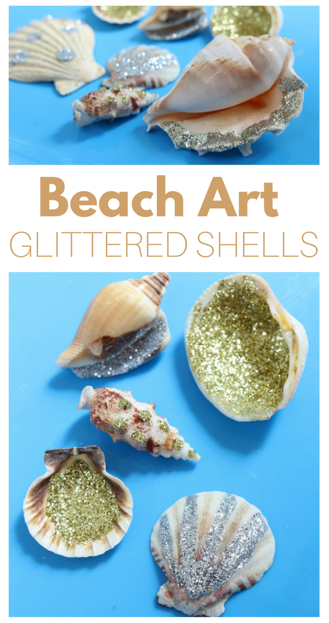 Glitter Shells - Super easy, and super fun beach activity for kids.