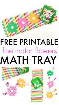 FREE PRINTABLE fine motor activity abd math tray preschool