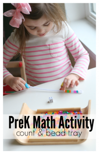 'Pre-K Math activity for centers' from the web at 'https://www.notimeforflashcards.com/wp-content/uploads/2017/05/Pre-K-math-activity-count-and-bead-tray--204x316.png'