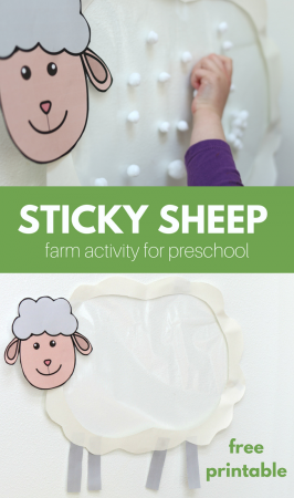 Sticky Sheep Farm Activity for Preschool and Free Printable