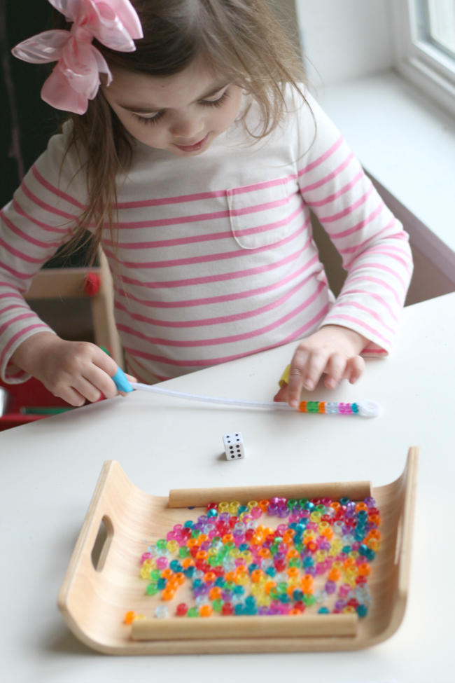 count and bead prek math tray activity