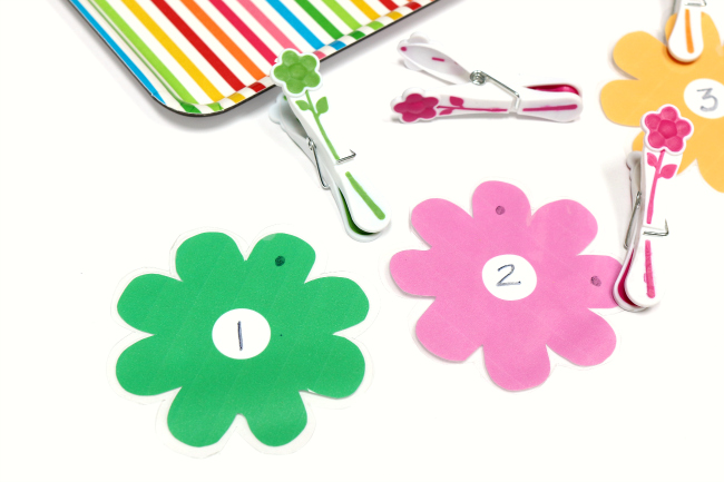 fine motor flower math tray