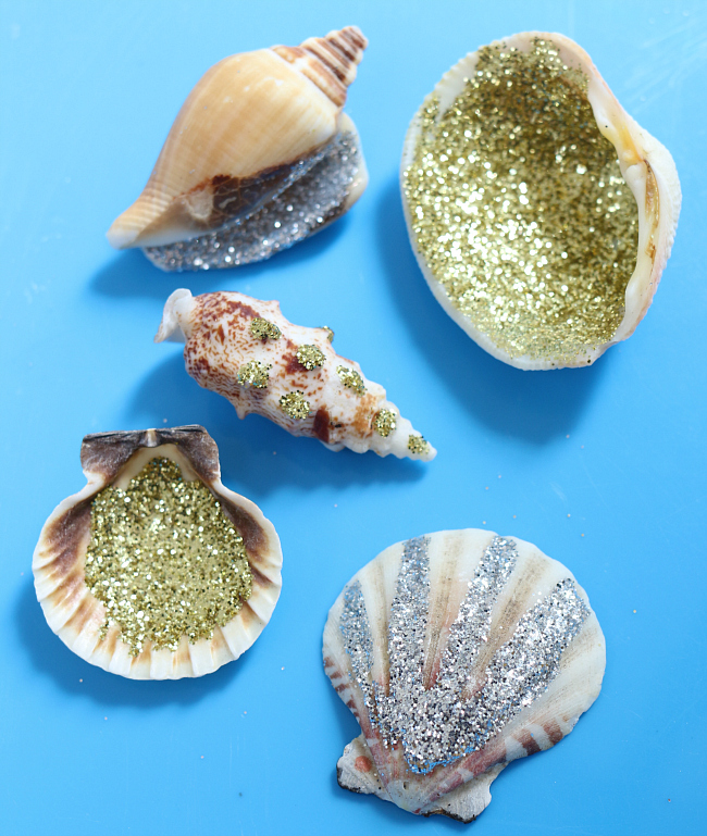 glitter beach shells summer art project for kids