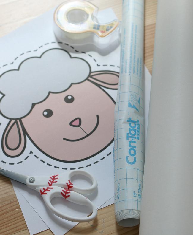 sticky sheep farm activity for preschool