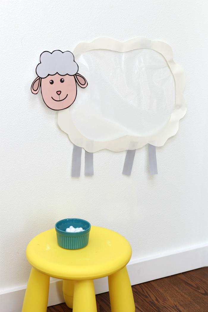 sticky sheep farm activity for preschool farm theme