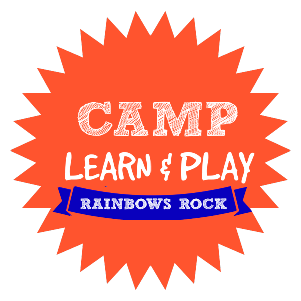CAMP LEARN AND PLAY LOGO RAINBOWS ROCK WEEK