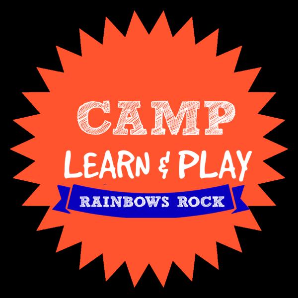 CAMP LEARN AND PLAY LOGO RAINBOWS ROCK WEEK