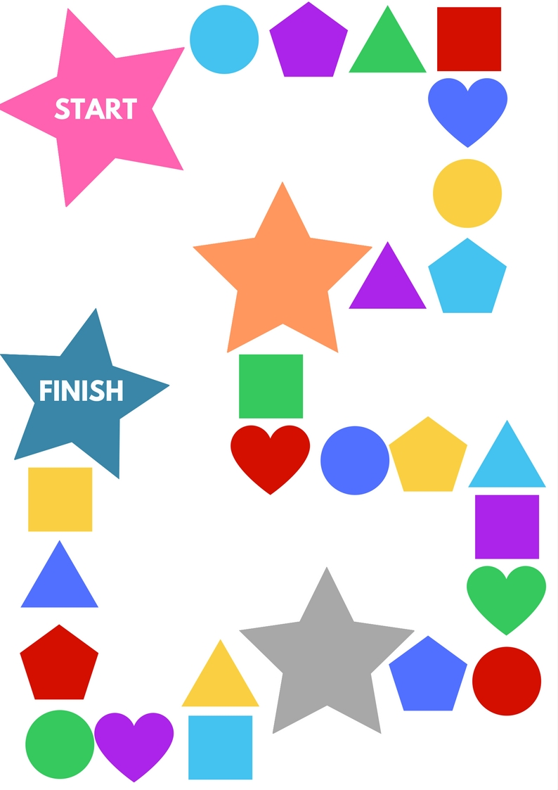 ROLL A SHAPE BOARD GAME PRINTABLE - No Time For Flash Cards