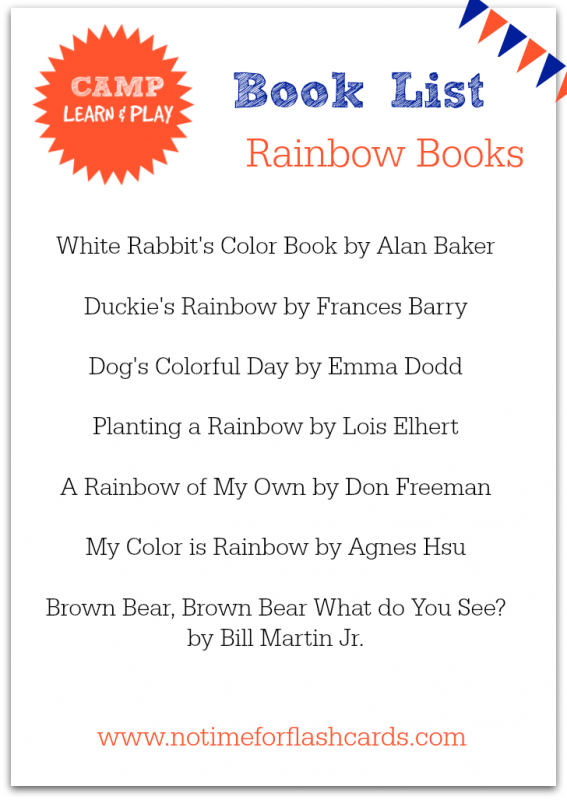Rainbow books for Rainbow week Camp Learn and Play free summer camp at home