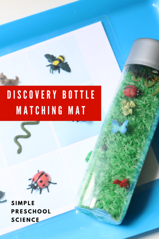 discovery bottle matching mat - simple preschool science